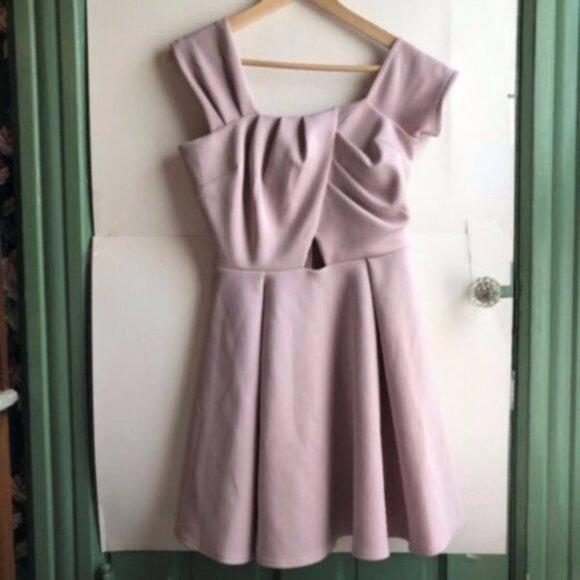 ASOS Purple Gray Fit Flare Tank Off Shoulder Dress